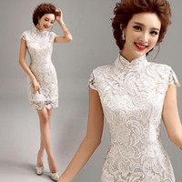 Wholesale Traditional Chinese Wedding Cheongsam - 2016 luxury lace wedding white Chinese traditional cheongsam Hot Sale Qipao style 7 size wholesale free shipping