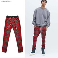 Wholesale Inside Pants - 2017SS New Fashion High Street Fear of God Men Pants Plaid Inside Zipper Pants Kanye West Casual Skinny Silm Men Trousers
