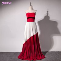Wholesale Modal Photos - Fashion Red Evening Dresses Long Prom Gown Strapless Chiffon Pleated Zipper Back Floor Length Red Carpet Dress