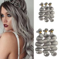 Wholesale top beauty brazilian hair for sale - Group buy Hot Sale Gray Weave Bundles Body Wave Peruvian Human Hair Extension Wet And Wavy Silver Grey Weft Top Grade Beauty Products