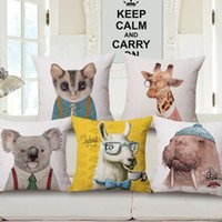 Wholesale Giraffe Throw - 12 Styles Hipster Animals Portrait Cushion Covers Sea Lion walrus Koala Cat Giraffe Fox Cushion Cover Sofa Throws Linen Cotton Pillow Case