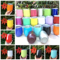 Wholesale Double Wall Travel Mug - Egg Cup Wine Glasses Stainless Steel Beer Stemless Cups 19 Colors 9oz Travel Double Walled Vacuum Insulated Water Mugs 10pcs OOA2102