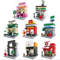 bina mağazası toptan satış-Boyutu 10 * 7 * 6 Blokları Şehir Mini Sokak Görünümü Sahne MIni Rakam Kahve Dükkanı Perakende Mağaza Mimarileri Modelleri Bina Oyuncak YH529