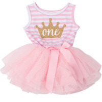 Wholesale girls cotton frocks - Wholesale- Toddler Girl Clothes Baby Frock Designs Cotton Stripe Baby Girl Tutu Birthday Dresses For Infant Baptism Dress Casual Wear