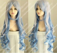 "Wholesale S Wigs - women""s gray blue Long curly cosplay Heat-resistant wig peruca Cosplay Wigs"
