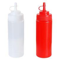 Wholesale cruet vinegar - Wholesale- 8oz Plastic Squeeze Bottle Condiment Dispenser Sauce Vinegar Oil Ketchup Cruet White Capacity 240ML Kitchen Essential XN460