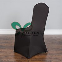Wholesale Nylons Spandex Chair Covers - Cheap Wedding Stretch Spandex Chair Cover With Strong Pocket In Black Color