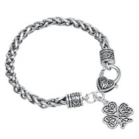 Wholesale Lucky Clover Heart Bracelet - Fashion Four Leaf Clover Brand Religious Charm Symbol Happiness Lucky Heart Lobster Clasp Pendant Zinc Alloy Thick Wheat Chain Bracelet