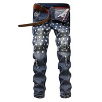 Wholesale New Star Jeans - Wholesale- Fashion New Stars Pattern Slim Fit Mens Scratched Pencil Jeans Casual hip hop Ripped pants patches Straight Denim Jeans male