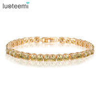 Wholesale 5mm Flower Beads - LUOTEEMI Brand Trendy Olive Yellow Bracelets Bangles Champagne Gold-Color 5mm Round AAA Cubic Zirconia Bracelet for Women Gift