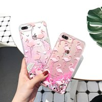 Wholesale Iphone Cover Heart - Flamingo Liquid Glitter Quicksand Case for iPhone 6s 6 7 Plus Clear Dynamic Heart Bling TPU Cover For iPhone 7 6s