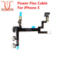 Wholesale Sensor Flash Light - Power Button Volume Buttons Control Connector Flex Cable For iPhone 5 Light Sensor Power Flash Mute Switch ON OFF Replacement Parts