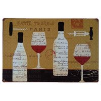 Wholesale Vintage Wine Cooler - Paris Wine Vintage Home Decor Retro Tin Sign Rustic Metal Plaque Cool Metal Plate Metal Poster