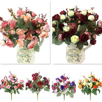 Wholesale Colorful Rose Bouquet - 1 Bouquet 21 Head Artificial Rose Colorful Silk Flower Capable Fake Flowers For Beauty Home Party Wedding Decor