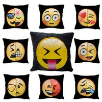 Wholesale face pillows - Double Color Emoji Sequins Pillow Case Fashion Face Expression Pillow Covers Home Decor Sofa Car Cushion Bright Covers Decor Gifts WX-P12