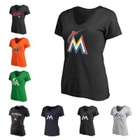 Wholesale Dry Fit Shirts Women - Cheap wholesale Women's Miami Marlins Black Team Color Primary Logo Slim Fit V-Neck T-Shirt Free shipping