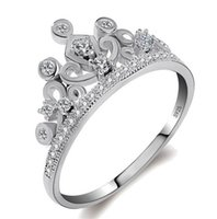 Wholesale Couples Beautiful - Hot Sale Beautiful Queen Crown Ring Fashion 925 Sterling Silver Zircon Wedding Party Couple Jewelry Wholesale