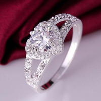 Wholesale Pretty Sale - Hot sales fashion charm Beautiful pretty Women Silver Plated Crystal Love Heart Shaped Ring Bridal Wedding Jewelry