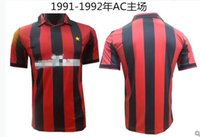 Wholesale Milan Retro - Wholesale 1991 1992 AC Milan retro soccer jerseys home red Top quality 3AAA customzied name number AC Milan soccer uniforms football shirts