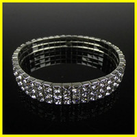 Wholesale accessory for sale - Free Ship Row Stretch Bangle Silver Rhinestones Cute Prom Homecoming Wedding Party Evening Jewelry Bracelet Bridal Accessories