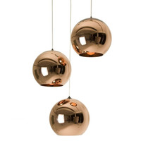 ingrosso ciondolo lampadine rame rame-Wonderland Modern Copper Light Shade Mirror Chandelier Light E27 Lampadina LED Lampada a sospensione Modern Christmas Glass Ball Lighting