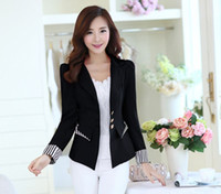 Wholesale Ladies Stripped Suits - Women OL Blazer New Fashion Color Stripped Patchwork Single Breasted Candy Long Sleeve Business Women OL Ladies Office Suit Blazer Jacket