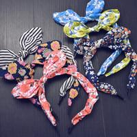 sevimli kız saç aksesuarları toptan satış-Yeni Moda Sevimli Kız Çiçek Yay Düğüm Bandı Saç Hoop şifon Güzel Çiçek Hairband Şapkalar Saç Aksesuarları Çocuklar için