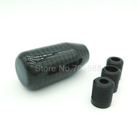 Wholesale carbon fiber car kits - New Auto Car Gear Shift Knob Carbon Fiber Universal Shifter Straight Manual Gear Shifter Adapter Black
