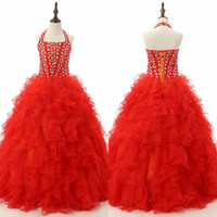 Wholesale Red Crystal Halter Quinceanera Dresses Lace up Organza Real Photo Exposed Boning Floor Length Cascading Ruffles New Ball Gown Actual Images