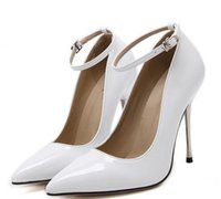 Wholesale Shoes Woman Elegant - 2017 Elegant ankle strap patent PU leather pointed toe high heels black white wedding shoes women pumps size 35 to 40