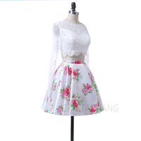 Wholesale Mini Power Style - Fashion New Style 2017 Jewel Collar Lace Long Sleeves Zipper Custom made Floral Printed Two Pieces Cocktail Dresses