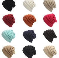 Wholesale Elegant Formal Hats - 12 Color Unisex CC Beanies Elegant Knitted Hats Cap Beanies Autumn Winter Casual Cap without LOGO LC467