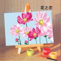 Wholesale Diy Paint Numbers - Handpainted Framed 1Set DIY Digital Oil Painting By Numbers Lovely Flower Cartoon Canvas Pictures For Kids Drawing Oil Painting