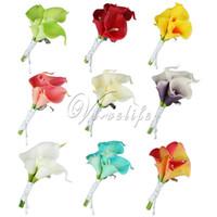 blumenstrauß boutonniere großhandel-Hochzeit Calla Lily Corsage künstliche Blume Brosche Bouquet Boutonniere Corsage Clip-on für Braut Bräutigam GroomsmanPin Dekor
