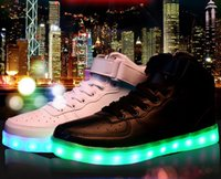 Wholesale Led Top For Girls - High Top Led Light Up Shoes 2 Colors Flashing Rechargeable Sneakers for Mens Womens Girls Boys Light Up Flashing Shoes