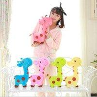 Wholesale Baby Dear Dolls - 18*17cm Lovely Giraffe Soft Doll Plush Toy Animal Dear Doll Baby Kid Children Birthday Gift CCA7555 60pcs