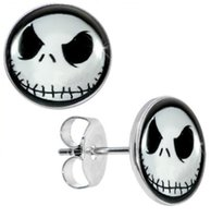 Wholesale Wholesale Surgical Steel Earrings - Wholesale Studs Earring Surgical Steel Nightmare Before Christmas Jack Skellington Ear Stud Fake Plugs Size 10mm*1.2mm 50pcs lot ZCST-052