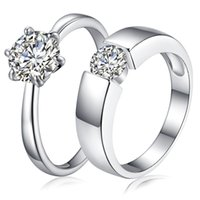 Wholesale Men S Cz Rings - 2017 Luxury CZ Wedding Rings 925 sterling silver bridal Cubic Zirconia diamond couple rings For men&women s engagement Fashion Jewelry