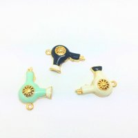Wholesale Gold Hair Slide - Free Shipping 10pcs Gold Tone 4 Color Enamel Mini Cute Hair Dryer Charm Alloy Pendant For DIY Female Jewelry Accessories 20*27mm