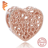 BELAWANG Rose Gold Charm 925 Sterling Silver Big Hole Beads Hollow Heart Charm Beads fit pulsera de PandoraCollares para el mejor regalo de la joyería