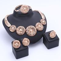 Wholesale Lemon Plate Set - OUHE Nigerian Beads Wedding Jewelry Set Bridal Dubai Gold Plated Necklace Earring Ring Jewelry Sets African Beads Jewelry Set