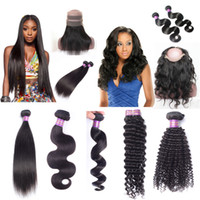 Wholesale Black Hair Bundles - 360 lace frontal with bundles Brazilian virgin hair peruvian malaysian indian human hair body wave straight deep wave curly hair extensions