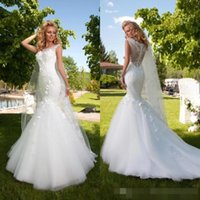 Wholesale Sexy Mermaid Tail Wedding Dresses - 2016 Modern New Arrival Mermaid Wedding Dresses Bateau Sheer Neck Lace Appliques Beautiful Fish Tails Floor Length Bridal Gown Plus Size
