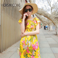 Wholesale Night Club Products - Wholesale- 2017 Summer New Product Female Seaside Printing Chiffon Bohemian Long Beach Dress EDG123