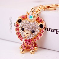 Wholesale Lion Rings For Women - Elegant Lion Keyrings For Women Crystal Pendant Keychains Top Quality Gold Key Rings Wholesale 2017 Hot Sale