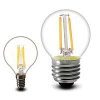 e14 edison led glühbirne großhandel-2w 4w 8w 6W führte Glühlampe Licht Dimmbare G45 C35 A60 B22 Glas klar e27 e14 360-Grad-LED-Lampe für die Innen
