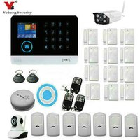 Wholesale Indoor Outdoor Ip Camera - Wholesale- YobangSecurity Wireless Wifi Gsm ANDROID IOS APP Touch Screen Keypad Home Security Alarm System with Outdoor Indoor IP Camera