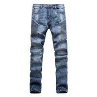 Wholesale New Jeans Designs For Men - Wholesale-Fashion Men Jeans New Arrival folds Design Slim Fit Fashion Skinny motorcycle biker Jeans For Men Good Quality Blue Black Y2031
