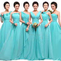 Wholesale Highest Red Coral Price - High Quality Cheap price long Chiffon Bridesmaid Dresses formal Party dress with Handmade Flowers Custom Made Colors Prom Gown