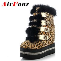 Wholesale leopard wedges shoes - Wholesale- Airfour Leopard Sexy Wedges Women Boots Shoes New Round Toe Buckle Strap High Boots Winter Platform Ankle Boots 3 Colors Shoes